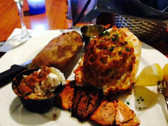 Captain's Table: lobster stuffed with crab imperial, baked sweet potato