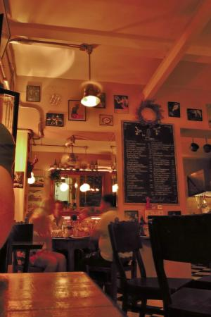 La Cigale: View of menu board and opposite direction from where we sat