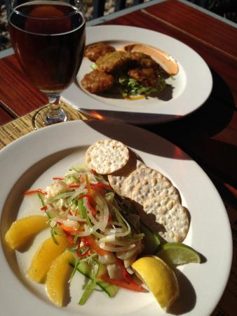 Da Fish Shack: Locally caught Grouper (Ceviche) w/Saltfish Fritters