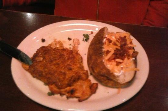 Hickory Falls Restaurant : Parmesan Crusted chicken & loaded baked potato