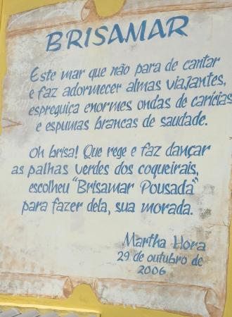 Brisamar Hotel Pousada: Poema!