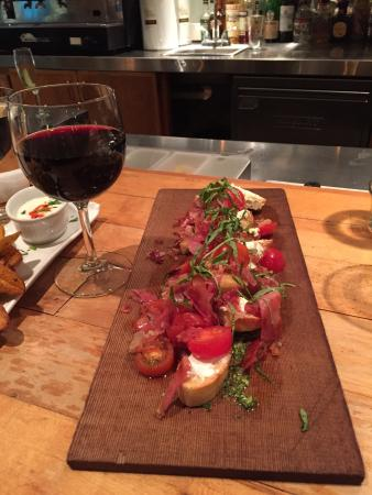 Bruschetta and a great glass of wine. A good start at Acqua Via!