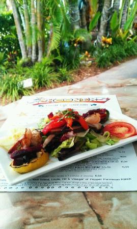 Schooners Restaurant : Blackened Shrimp with Grilled Portabella Mushrooms & Mediterranean Vegetable Medley