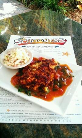 Schooners Restaurant: Sweet Potato Leek Gorgonzola Crusted Yellowtail Snapper