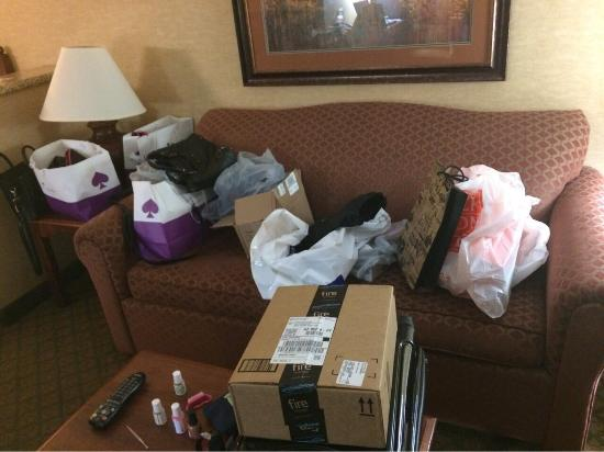 Holiday Inn Express Hotel & Suites Tempe: My living room. Chaos after all the shopping lol