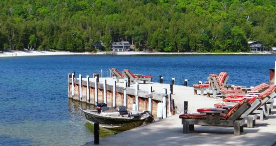 Little Sister Resort: Enjoy a favorite book or snooze on a lounge chair on our private dock.