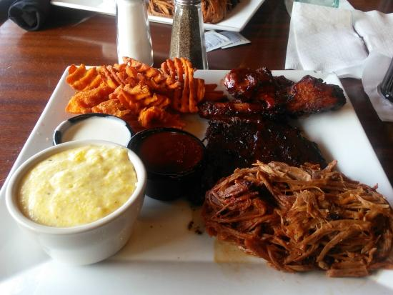 Darryl's Wood Fired Grill: Smoked goodness; ribs,barbeque, sweet potato fries,grits & smoked ribs