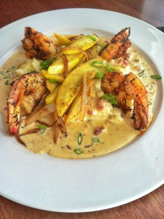 Dharma Blue: Blackened Shrimp with Tasso Cream Sauce over Garlic Mashed Potatoes and Sautéed Spinach Special