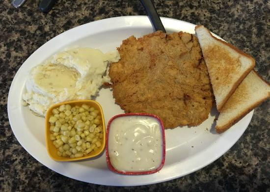 JJ's Little Bay Cafe: Crispy Country Fried Steak, Home-made Mashed Potatoes, Cream Gravy, Sweet Corn, & Texas Toast