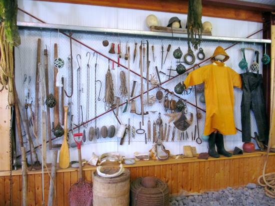 Wall of fishing tools picture of bjarnarhofn shark for Wall fishing tools
