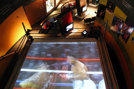 Muhammad Ali Center: Screen in a boxing ring