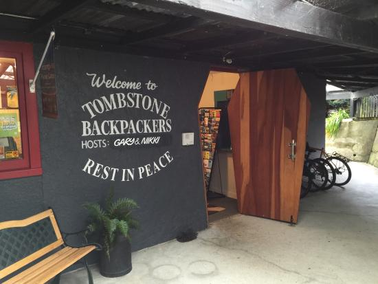 Tombstone Backpackers : Hum the Addams Family tune as you open the coffin door...