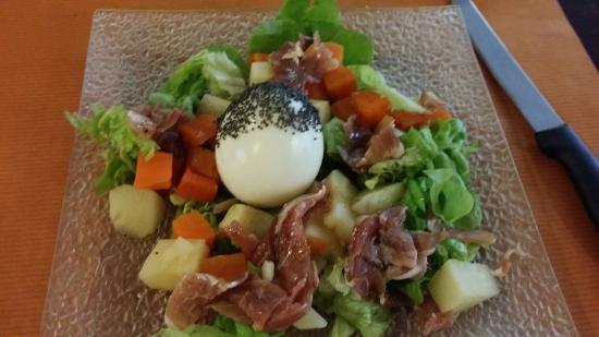La Trattoria : Salade aux petits légumes et oeuf (dans menu du jour à 14€)