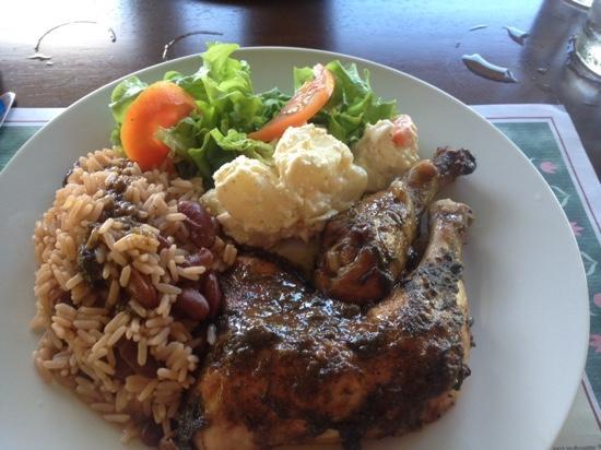 Davy Hill, Montserrat: jerk chicken