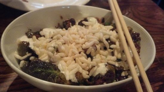Momofuku Ssam Bar: sprouts with puffed rice