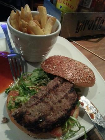 Giraffe: Bland burger with steamed fries