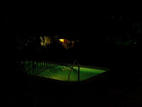 Palm Beach Condominiums: View of the pool from the deck at night