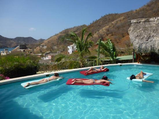 Casa Los Cerros: Piscina con vista a la bahía