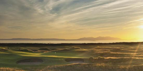 15th green at Prestwick GC, Scotland looking west towards  Isle of Arran.