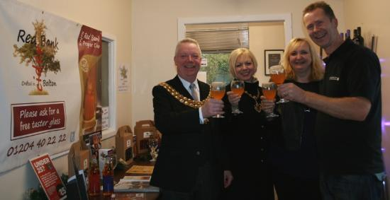 The Mayor & Mayoress of Bolton Cllr Martin Donaghy with Mayoress Jacqueline Tracey trying a glas
