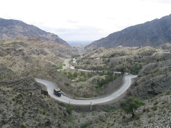 Khyber Pass which Extends from Peshawar to Landikotal Pass  on Border with Afghanistan with Paki