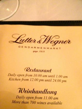 Lutter & Wegner: Restaurant