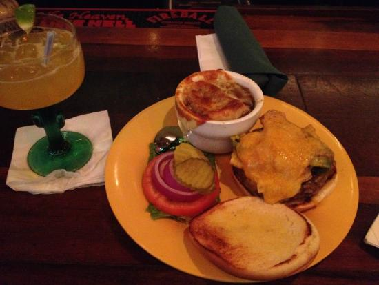 The Brass Cactus: Brass Cactus Burger, Onion Soup, and Margarita