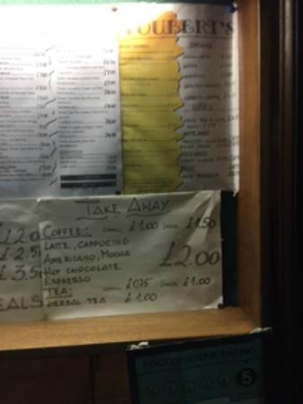 Chiswick menu for Fouberts