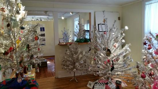 Aluminum christmas tree display at heritage museum brevard nc