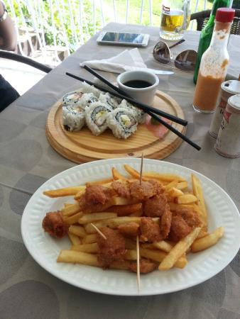 TAO Restaurant & Lounge Bar: Calamari with Fries and Alaska Sushi Roll (18 + 35 XCD)
