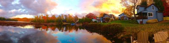 Placid Bay Inn: Fall Panoramic taken from the dock, looking back at our property