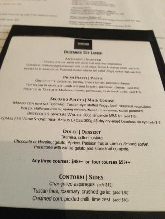 Bistecca Restaurant Week Menu