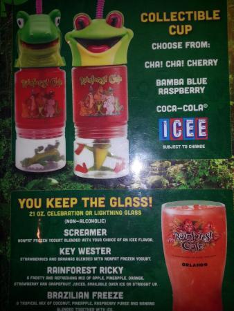 Rainforest Cafe Alcohol Menu