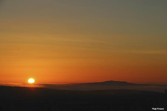 View of the sunset from Pallastunturi Visitor Centre.