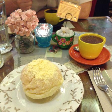 Cafe Mary Grace: hot choc and that cheese bun (forgot what it's called but is a specialty in the Philippines)