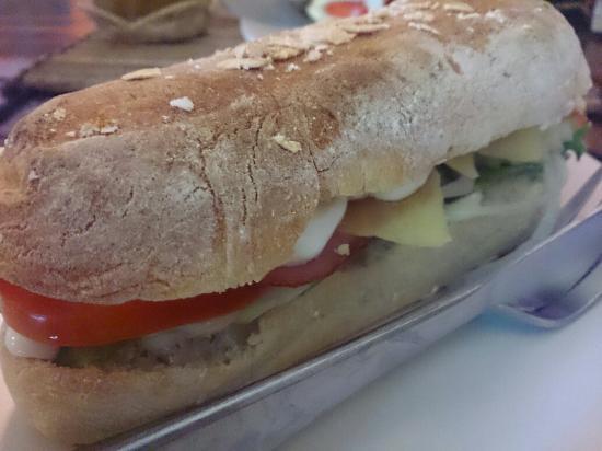 Peak Cafe : Ciabatta Sandwich with ham, Cheddar cheese, lettuce and sour cream...