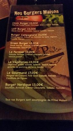 LVP Cafe: La carte des burgers maison