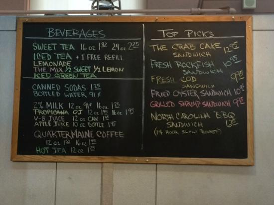 Market Lunch: Some menu options