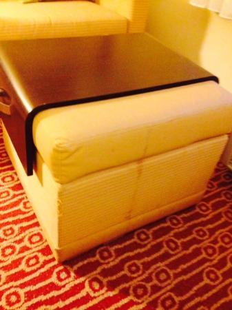 TownePlace Suites Jacksonville Butler Boulevard : Shredded ottoman with combo stains.