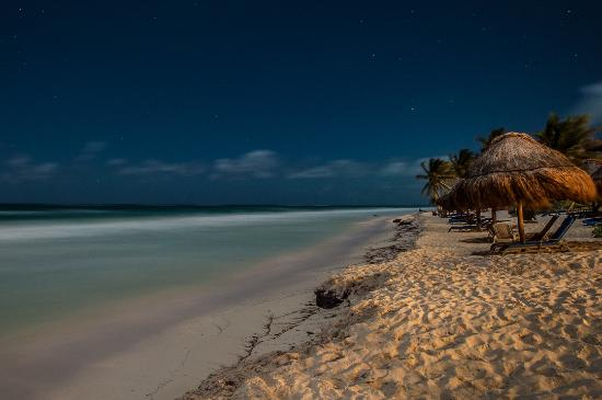 Om Tulum Hotel Cabanas and Beach Club: Full Moon Light Over OM Tulum