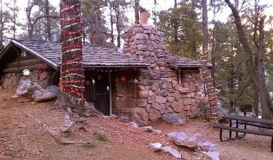 "Hualapai Mountain Park: Beautiful rustic cabin called ""Avalanche."" It sleeps 2, has water, electricity, bathroom, kitche"