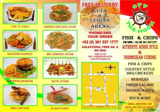 Menu picture of off the hook fish chips denpasar for Loves fish box menu