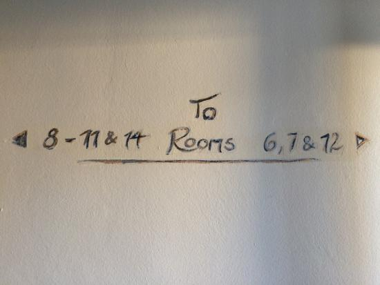 Fritz Hotel: Hand written room directions