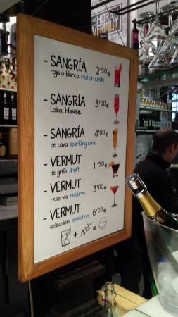 Degustación de Jerez en The Sherry Corner en el Mercado de San Miguel: tablón de precios