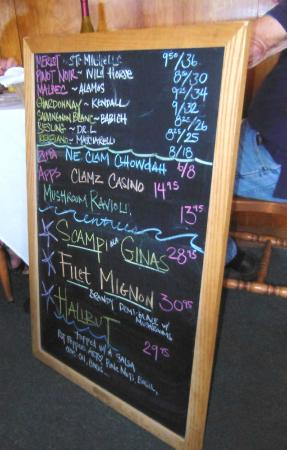 Gina's By The Sea: Daily Specials Board
