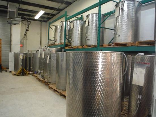 Murielle Winery: Beautiful stainless steel vats for wine.