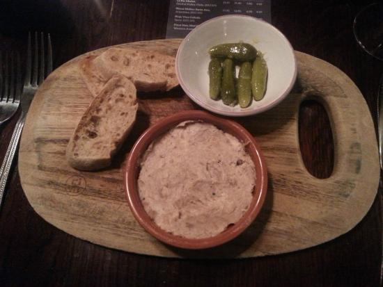 Bistrot Pierre: Duck and pork rillette, sourdough toast, cornichons