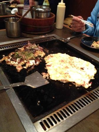 okonomiyaki, on your own private grill table