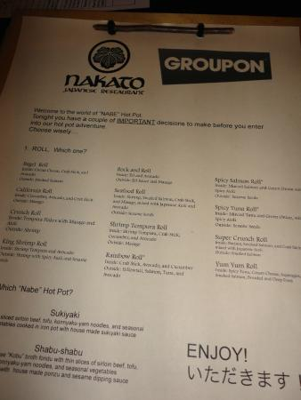 Groupon Menu Picture Of Nakato Japanese Restaurant