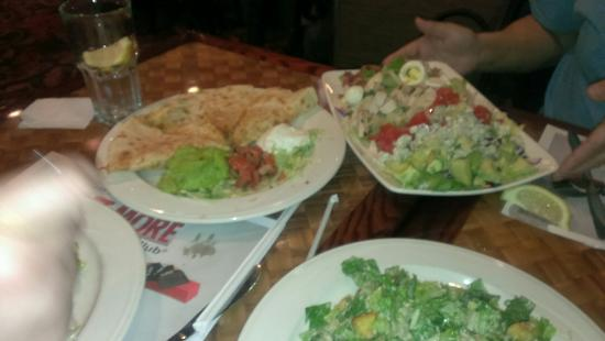 The Sterling Spoon Café: Chicken quesadilla, Cobb salad, Cesar salad and the French Onion soup.